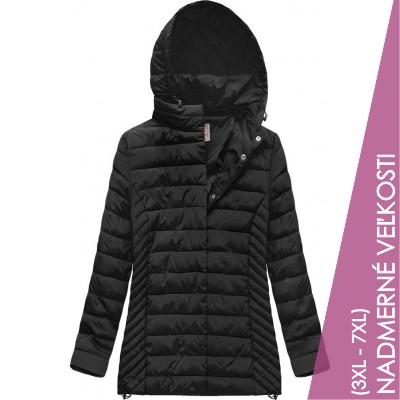 Prešívaná dámska prechodná bunda čierna  (W260BIG)