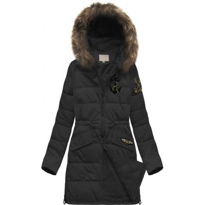 Prešívaná dámska zimná  bunda čierna (08)