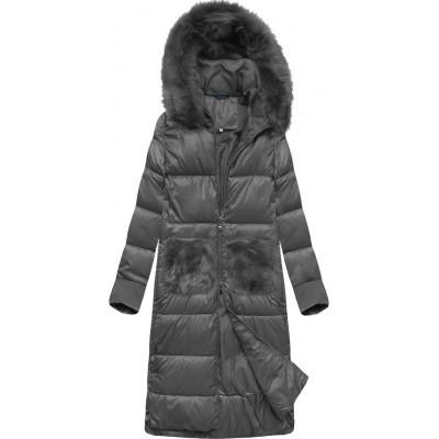 Dlhá dámska zimná bunda s kapucňou tmavošedá  (PM7231)