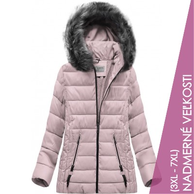 Prešívaná dámska zimná bunda ružová (R9505)