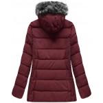 Prešívaná dámska zimná bunda bordová  (R9505)