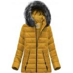 Prešívaná dámska zimná bunda žltá (R9505)