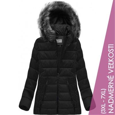 Prešívaná dámska zimná bunda čierna (R9505)