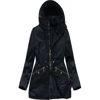 Obojstranná dámska zimná bunda parka tmavomodrá (B2634)