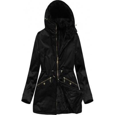 Obojstranná dámska zimná bunda parka čierna (B2634)