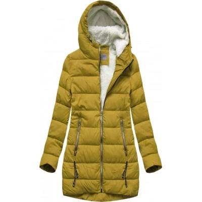 Prešívaná dámska zimná bunda žltá B2642)