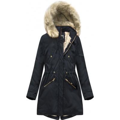 Teplá dámska zimná bunda parka tmavomodrá (B2623)