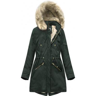 Teplá dámska zimná bunda parka tmavozelená (B2623)