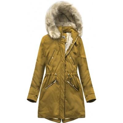 Teplá dámska zimná bunda parka žltá (B2623)