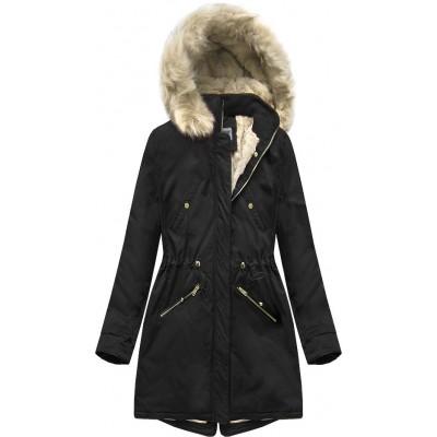 Teplá dámska zimná bunda parka čierna (B2623)
