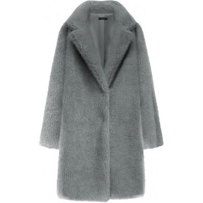 Dámsky kožušinový kabát šedý  (461ART)