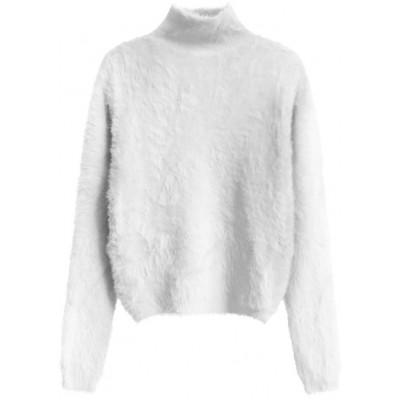 Krátky dámsky sveter biely (466ART)