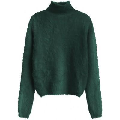 Krátky dámsky sveter zelený (466ART)