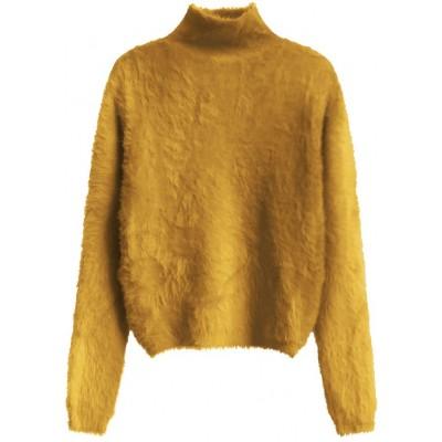 Krátky dámsky sveter horčicový  (466ART)