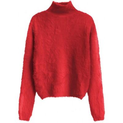 Krátky dámsky sveter červený (466ART)