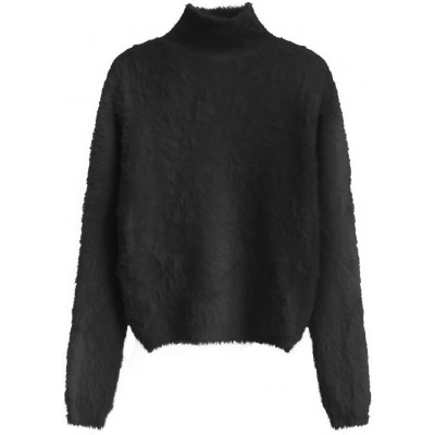 Krátky dámsky sveter čierny (466ART)
