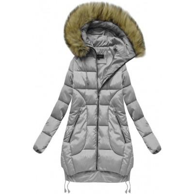 Prešívaná dámska zimná bunda šedá (759)
