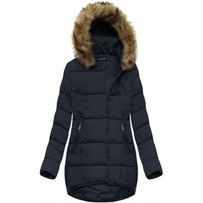 Dámska zimná bunda s kapucňou tmavomodrá (X859X)