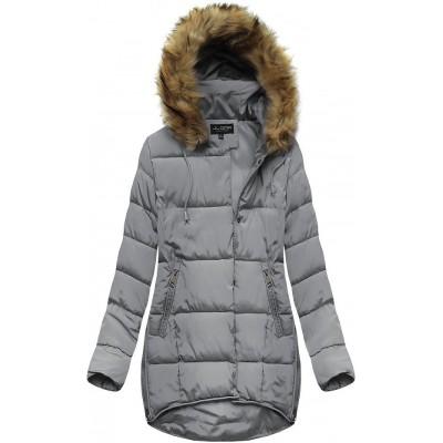 Dámska zimná bunda s kapucňou šedá (X859X)