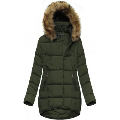Dámska zimná bunda s kapucňou khaki (X859X)