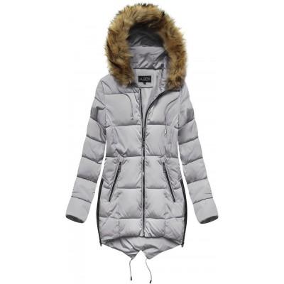 Prešívaná dámska zimná bunda s kapucňou šedá  (X857X)