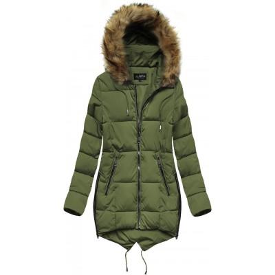 Prešívaná dámska zimná bunda s kapucňou khaki (X857X)