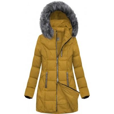 Dámska prešívaná zimná bunda žltá (B2644)