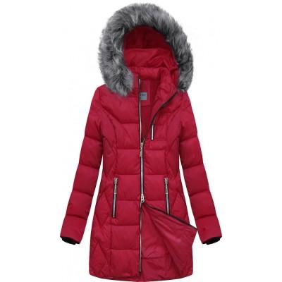 Dámska prešívaná zimná bunda červená B2644)