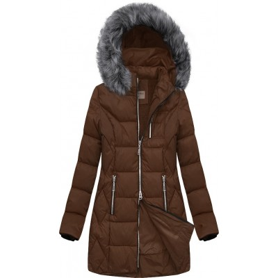 Dámska prešívaná zimná bunda hnedá (B2644)