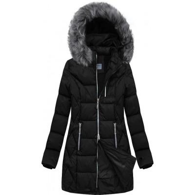 Dámska prešívaná zimná bunda čierna  (B2644)