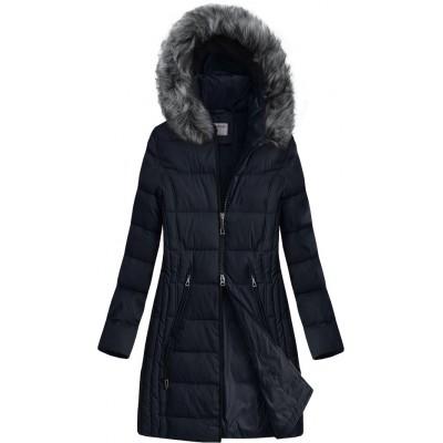 Dlhšia prešívaná zimná bunda s kapucňou tmavomodrá (B9501)