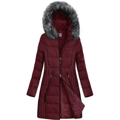 Dlhšia prešívaná zimná bunda s kapucňou bordová (B9501)