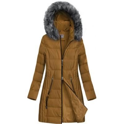 Dlhšia prešívaná zimná bunda s kapucňou horčicová (B9501)