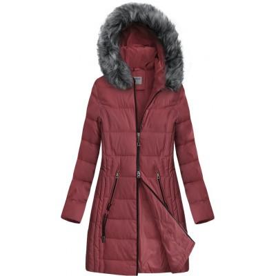 Dlhšia prešívaná zimná bunda s kapucňou tmavoružová (B9501)