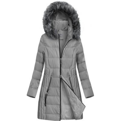 Dlhšia prešívaná zimná bunda s kapucňou šedá (B9501)