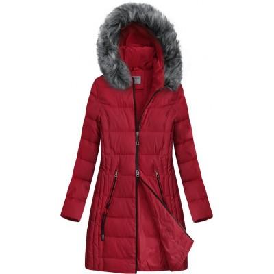 Dlhšia prešívaná zimná bunda s kapucňou červená (B9501)