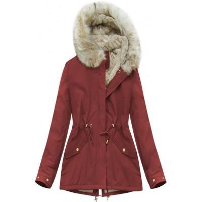 Dámska zimná bunda bordová (B2648)