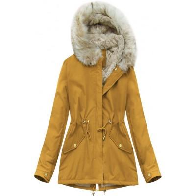 Dámska zimná bunda horčicová (B2648)