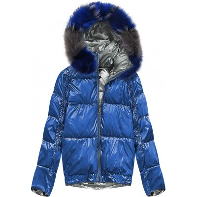 Obojstranná zimná dámska bunda modrá (X921X)