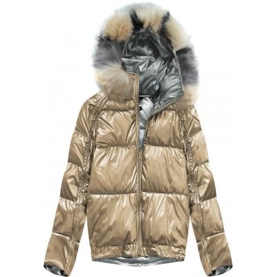 Obojstranná zimná dámska bunda zlatá (X921X)