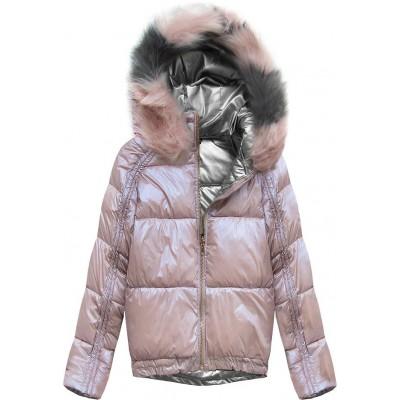 Obojstranná zimná dámska bunda ružová (X921X)