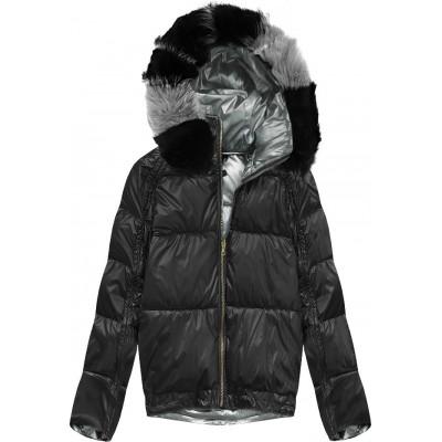 Obojstranná zimná dámska bunda čierna (X921X)