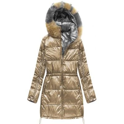 Zimná dámska obojstranná bunda zlatá (1908)