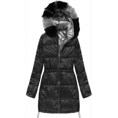 Zimná dámska obojstranná bunda čierna  (1908)