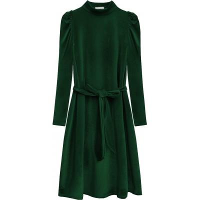 Dámske velúrové šaty zelené (487ART)