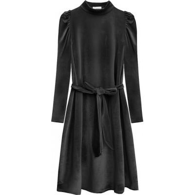 Dámske velúrové šaty tmavošedé (487ART)