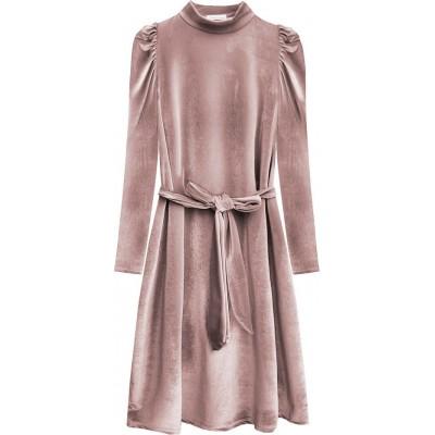 Dámske velúrové šaty ružové (487ART)