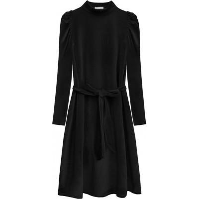 Dámske velúrové šaty čierne (487ART)