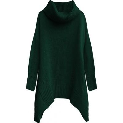 Dámsky sveter s rolákom zelený (494ART)
