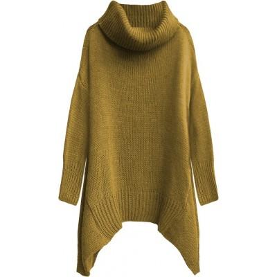 Dámsky sveter s rolákom horčicový (494ART)